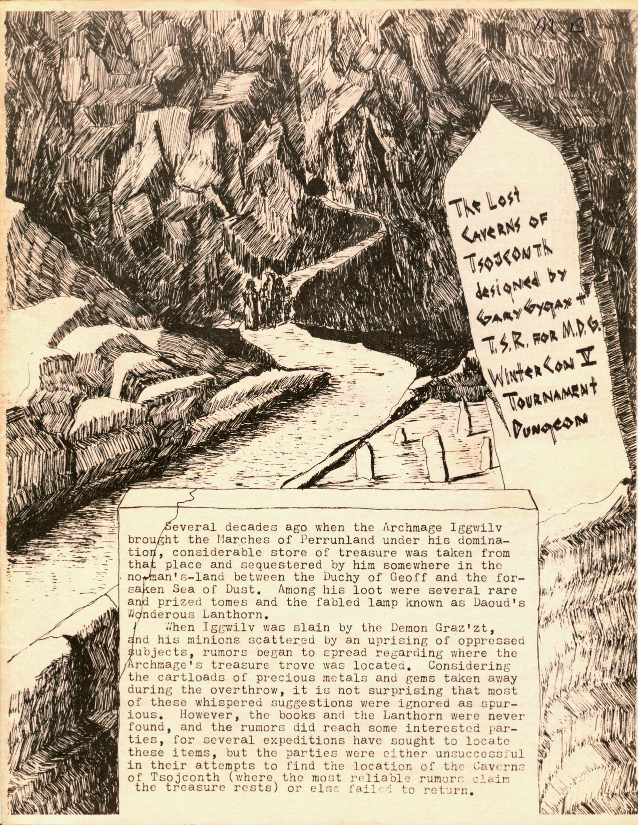 Lost Caverns of Tsojconth - 1976 tourney version, front cover